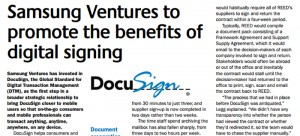 DocuSign helps consumers and businesses complete transactions digitally by providing a global network for sending, signing, tracking
