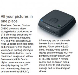 Users can import images and videos from a compatible Canon digital camera or camcorder simply by tapping the NFC icon