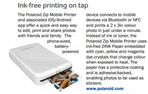 Instead of ink or toner, the Polaroid Zip Mobile Printer uses ink-free ZINK