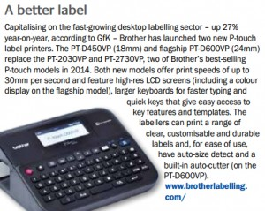 PT-2030VP and PT-2730VP, two of Brother's best-selling P-touch models in 2014