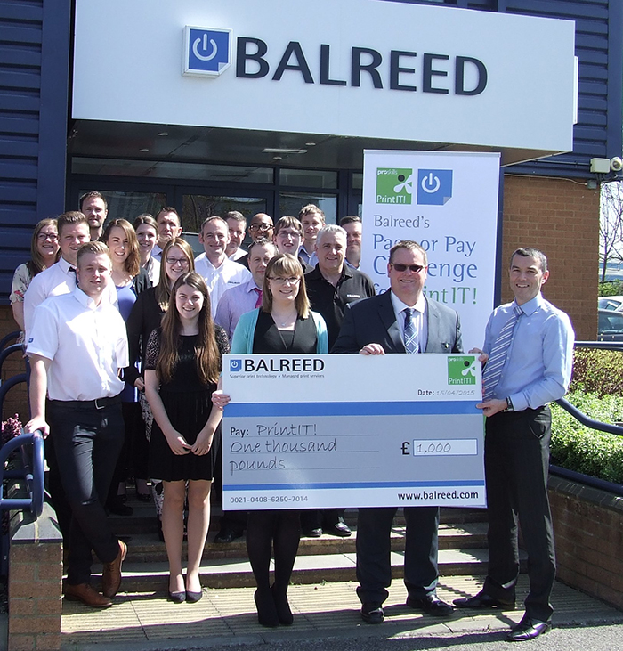 Balreed has presented Proskills PrintIT! with a cheque for £1,000 to help fund its mission to educate students about the print and paper industries.