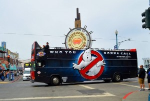 Bus wraps showing the 'No Ghost' logo
