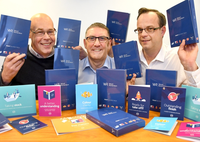 Pictured at York print company Wood Richardson are Sales Manager Simon Pirie, Sales Director Alan Coulson and Sales Manager Tim Falconer, with the new information pack the company has launched. Picture David Harrison.
