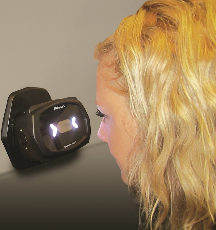 Stanley EyeLock iris recognition in use